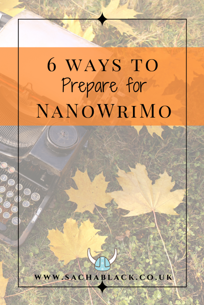 6 Ways to Prepare for NaNoWriMo image of typewriter and leaves